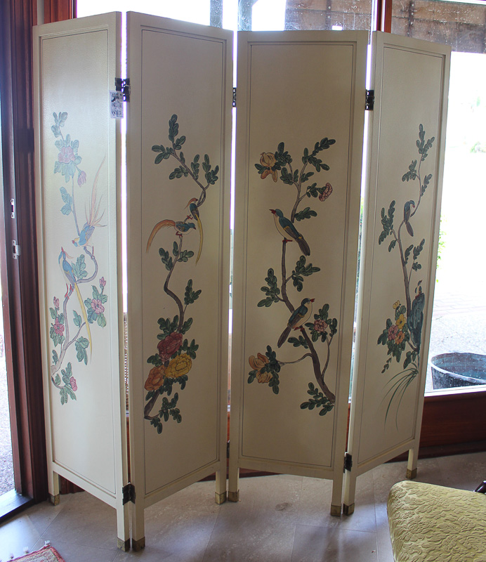 Decorative Birds painted on Yellow 4 panel Screen