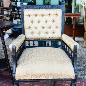 Cream Fabric on Black Victorian King Chair