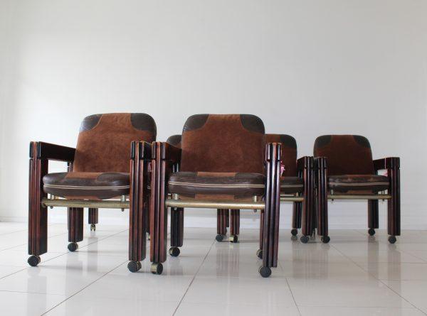 Mid Century, Vintage, 1970, Dining Chairs, Post n Rail